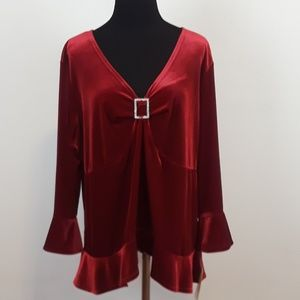 NWT Notation Woman plus size red velvet top